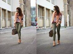Peach, olive and floral print