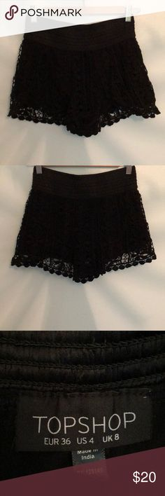 Teen shorts All black. Lace over lay, high waistband Topshop Shorts