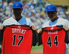 4ca938699 Anthony Rizzo & Kris Bryant Dual Signed Chicago Cubs Holdig 2015 All Star  Game Jerseys 16x20 Photo - Schwartz COA