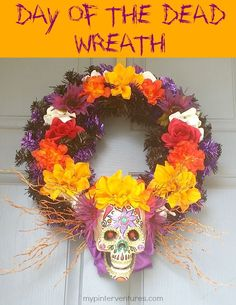 Day of the Dead Halloween Wreath. A tutorial on how to make a Dia de Los Muertos or Day of the Dead Halloween Wreath.