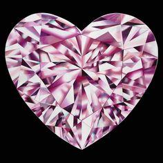 'Passionate Heart' - Portrait of a Pink Heart-Shaped Diamond. 36 x 36…