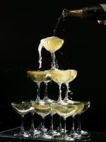 Champagne towers can be large or small.