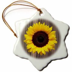 3dRose Wood Image with Sunflower, Snowflake Ornament, Porcelain, 3-inch