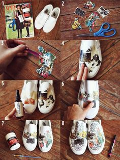 Vans DIY by A Beautiful Mess. How to transfer magazine photos to canvas shoes: http://www.abeautifulmess.com/2012/07/a-beautiful-mess-vans-girls-diy-project-vol2.html