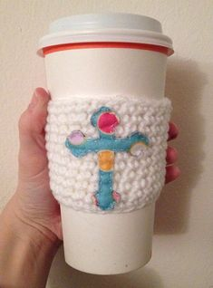 Easter cross coffee cozy. Blue and white cup coozie. Christian holiday pastel colorful beverage sleeve. First communion. Confirmation. Gift. on Etsy, $10.00