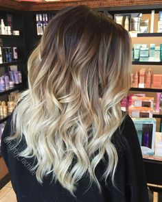 Bright blonde balayage ombre using olaplex.   Hair by Rachel Fife @ Sara Fraraccio Salon in Akron, Ohio