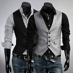 Stylish Men's Casual Slim Fit Skinny dress vest Waistcoat Shirt 2colors 3 Size