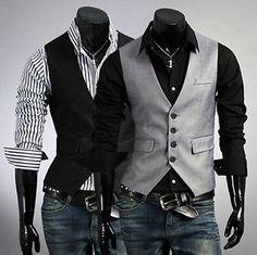 Stylish Men's Casual Slim Fit Skinny dress vest Waistcoat Shirt 2colors 3 Size