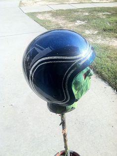 Metalflake helmet, with blue candy.