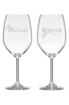 kate spade new york 'yours & mine' crystal wine glasses | Nordstrom