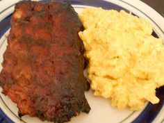 Slow Cooker BBQ Ribs partnered with Tricia Yearwood's Crock Pot Mac and Cheese