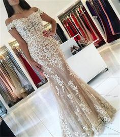Mermaid Lace Prom Dresses,Long Prom Dresses,Prom Dresses For Teens,Off Shoulder Prom Gowns,Elegant Prom Dress,Modest Evening Dresses,Pretty Party Dresses