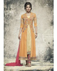 1. Cream & Yellow embroidered Georgette suit 2. Embroidery with jari, sequins and stone work  3. Comes with a matching chiffon dupatta finish with lace and stone work 4. Can be stitched upto size 42 inches