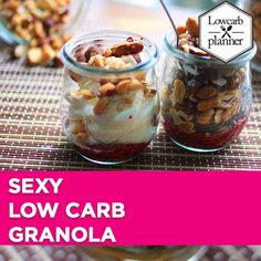 Breakfast – LOW CARB PLANNER If you are a Fan of Granola, then you will love this wonderful Sugar-Free Treat. I call it sexy Granola, it's my healthified version, it's Gluten-Free, Sugar-Free and Low in Carbs. Definitely a must-try recipe. Low Carb Sweets, Low Carb Desserts, Healthy Dessert Recipes, Sweet Desserts, Healthy Baking, Keto Snacks, Low Carb Granola, Low Carb Cocktails, Best Low Carb Recipes
