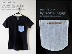 "Awesome 100% cotton T-shirt with a neat jean pocket and "" rock 'n' roll pocket.   Designed  and made by Monia Zając NU RETRO  size: Medium ( US)  fitted    https://www.facebook.com/photo.php?fbid=576757479003541=pb.428559407156683.-2207520000.1364337714=3"