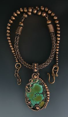 Viking knit necklace with wire wrapped pendant