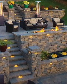 Retaining Walls & Steps I like the way the fireplace is incorporated into the retaining wall
