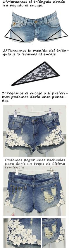 DIY shorts with lace for summer Sewing Shorts, Sewing Clothes, Diy Lace Shorts, Denim Shorts, Diy Pantalones Cortos, Denim Ideas, Recycle Jeans, How To Make Clothes, Clothing Hacks