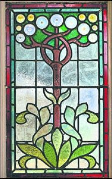 Tree and Leaves Stained Glass Window.