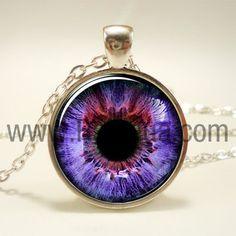 Purple Eye Necklace, Third Eye Jewelry, Evil Eye Pendant (1138S1IN)