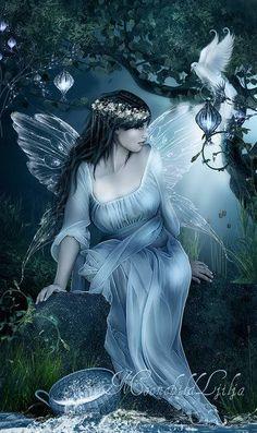"Elves Faeries Gnomes: Fairy ~ Magic Lightby,"" by moonchild-ljilja. Fairy Dust, Fairy Land, Fairy Tales, Magic Fairy, Magical Creatures, Fantasy Creatures, Fantasy Kunst, Fantasy Art, Fantasy Fairies"