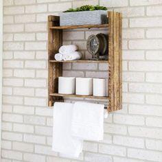 Wall Shelf Rack, Rustic Wall Shelves, Rustic Walls, Bathroom Wall Shelves, Clever Bathroom Storage, Rustic Wood Wall Decor, Reclaimed Wood Shelves, Wall Storage, Floating Shelves