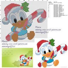 Baby Donald Duck cross stitch pattern
