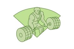 Weightlifter Lifting Barbell  - Illustrations. Mono line style illustration of a weightlifter lifting barbell weights with both hands set inside shield crest on isolated background. #illustration  #WeightlifterLiftingBarbell