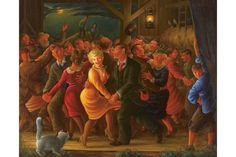 Clyde Singer (American, 1908 – 1999), 'Barn Dance.' Oil on canvas, 1938, 39.5 x 49.5 inches. Collection of John and Susan Horseman.