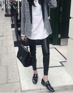 blazer, white shirt, leather leggings & loafers #style #fashion #workwear