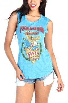 LoveMelrose.com From Harry & Molly | FREEDOM REBELS TOP - LIGHT BLUE