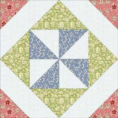 Sew Pinwheel in a Square Quilt Blocks from Retro Quilting Fabrics: Thirties Pinwheel in a Square Quilt Block Pattern