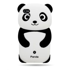 Black Panda Silicone Gel Skin Sleeve Case for Apple Iphone 4 4s