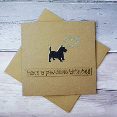 Funny Greeting Cards, Funny Cards, Cute Cards, Greeting Cards Handmade, Happy Birthday Name, Dog Birthday, Etsy Cards, Dog Cards, West Highland Terrier