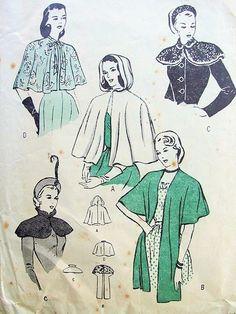 1940s bolero cape patterns | 1940s STOLE, CAPE,HOODED CAPE PATTERN 4 GLAM STYLES BUTTERICK PATTERNS ...