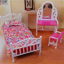 Maison de poupée princesse miroir ensemble de lit meubles enfants bébé jouets filles cadeau d'anniversaire chambre accessoires pour Barbie Ken poupée(China (Mainland))
