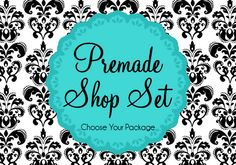 This design for your shop is simplistic, modern & elegant. It features a black and white damask, a splash of turquoise... and a little dash of blissfulness! (Available in other colors by request.)
