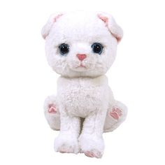 "Almost as good as a real kitty, these cute and fluffy cat plushies can sit, stand or lie down, but make for excellent cuddle partners too!  This sad-looking Scotland Fold version is a bright white cat with floppy ears and pink nose and paw pads! Each of the plushies measures approximately **3.9"" x 5.1"" x 6.5"" in size.  #plushie"