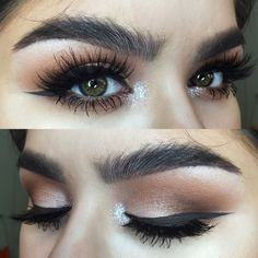 Bushy brows and thick liner.