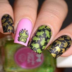 Frog prince nail art Fairytale 02 plate by Uber Chic Beauty. Stamping nail art design