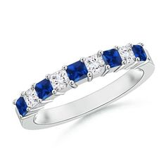 Love this Jewelry Style from Angara! Square Ruby and Princess Diamond Semi Eternity Classic Wedding Band Eternity Ring Diamond, Eternity Bands, Diamond Bands, Diamond Wedding Bands, Diamond Jewelry, Sapphire Wedding, Wedding Blue, Sapphire Band, Blue Sapphire
