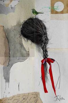 "Saatchi Art Artist Loui Jover; Drawing, ""the scarlet ribbon"" #art"