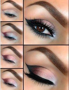 Modern Cat Eye using all Motives Cosmetics products: -Eye Base -My Beauty Weapon (Plum) -Pressed Eyeshadow (Pink Diamond & Heiress) -Gel Eyeliner (Little Black Dress) -Mascara (Black) Makeup Tips, Beauty Makeup, Hair Makeup, Makeup Ideas, Lion Makeup, Makeup Lessons, Makeup Style, Makeup Geek, Makeup Brush