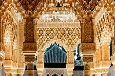 The Alhambra in Granada, Spain, is the most impressive place I've ever visited in my life....hmmm... need to go there.