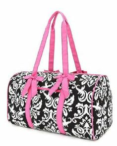 Belvah Black /& Fuchsia Quilted Zebra Large Duffle Bag