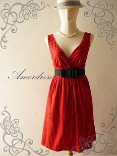 Amor Vintage Inspired Stripe Love Red Black Cocktail Party Dress Free Belt   -Fit size S-M-. $42.00, via Etsy.