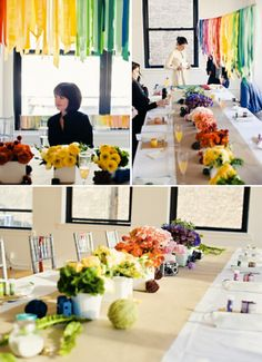 Table styling ideas...I like the floral arrangements in the colors of the rainbow.