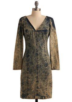"""Acid-wash denim dress by Paris Blues, ca. 1980's. Label: """"Paris Blues"""""""