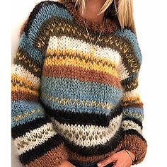 Warm Sweaters, Casual Sweaters, Pullover Sweaters, Sweaters For Women, Loose Sweater, Long Sleeve Sweater, Sweater Cardigan, Jumper, Rainbow Sweater