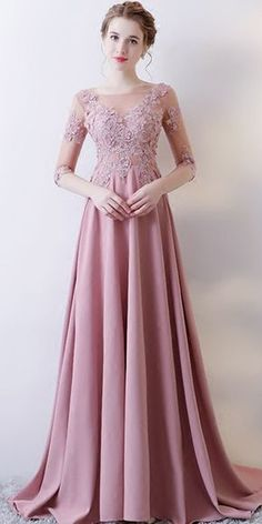 A Line Half Sleeve Applique Long Prom Dress - Cute Dresses Evening Dresses With Sleeves, A Line Prom Dresses, Beautiful Prom Dresses, Elegant Dresses, Cute Dresses, Evening Gowns, Short Dresses, Bridesmaid Dresses, Formal Dresses